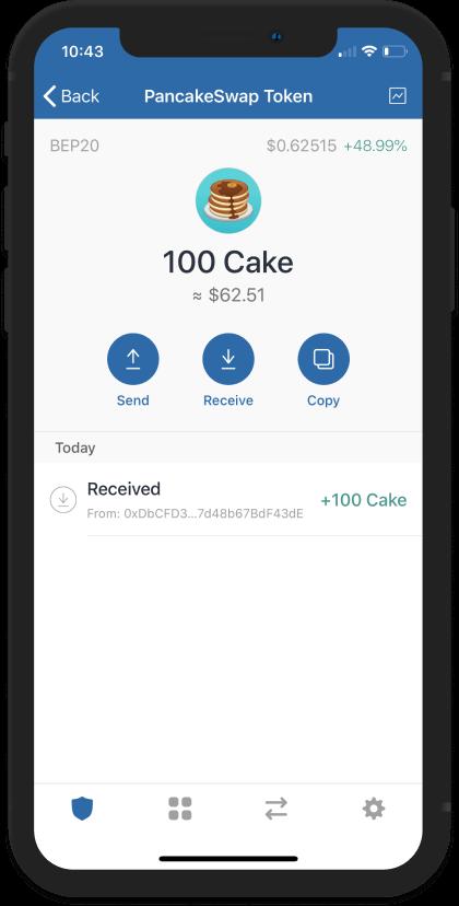Swap thành công, bạn đã nhận được 100 đồng CAKE