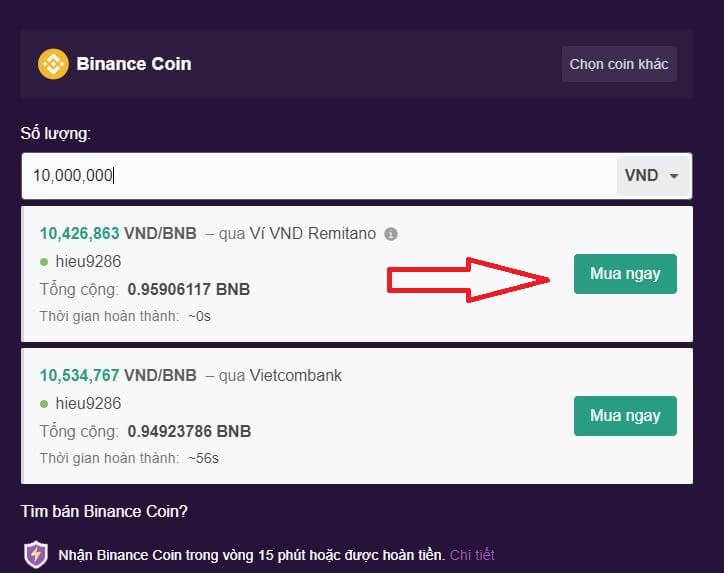 Tiến hành mua đồng BNB - hướng dẫn mua đồng BNB trên Remitano