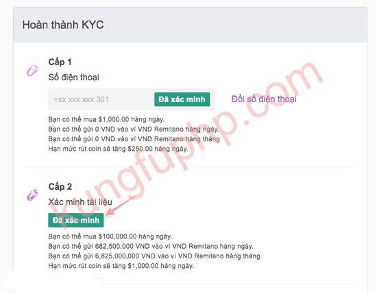 hoàn thành KYC - Hướng dẫn xác minh tài khoản Remitano