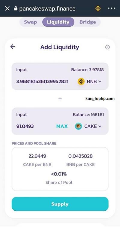 Bước 3 : Chọn số lượng BNB bạn muốn thêm thanh khoản - - hướng dẫn mua IFO PancakeSwap