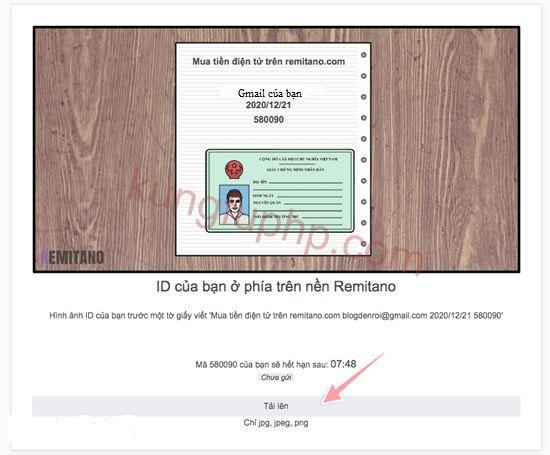 Điền thông tin gmail - chứng minh thư