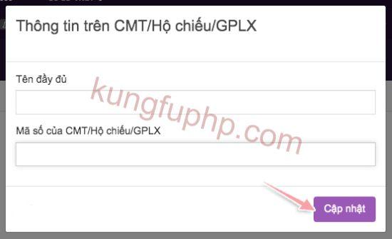 Điền thông tin trên hộ chiếu CMT - Hướng dẫn xác minh tài khoản Remitano
