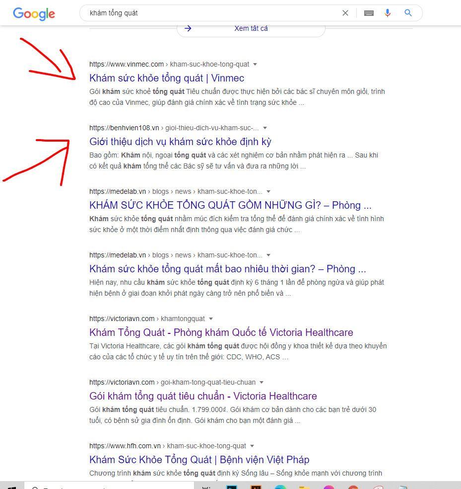 Thứ hạng Vinmec trong từ khóa tìm kiếm Google