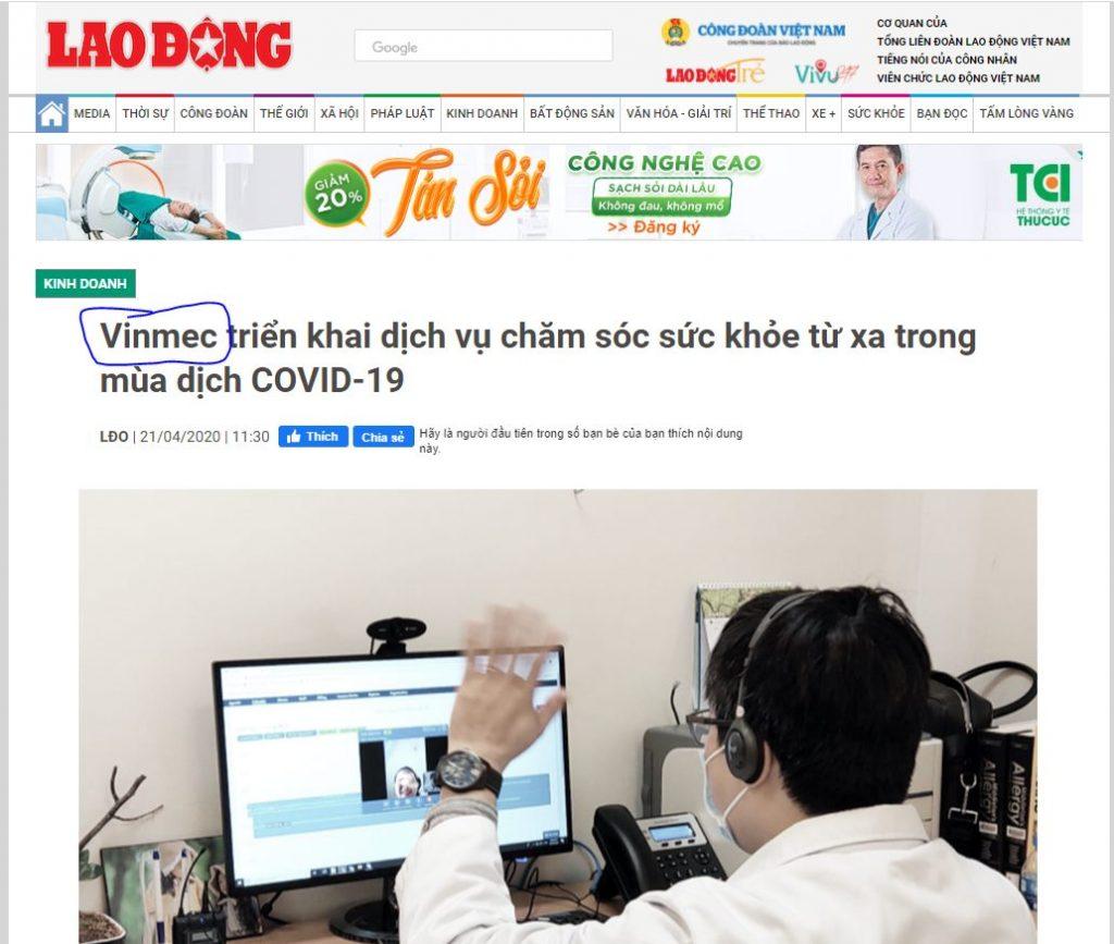 Thương hiệu Vinmec trong báo Lao Động