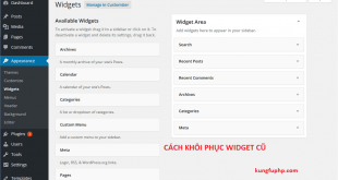 Hướng dẫn khôi phục phiên bản Widget cũ trong Wordpress