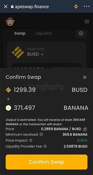 Ấn Confirm Swap để xác thực - hướng dẫn sử dụng apeswap trust wallet