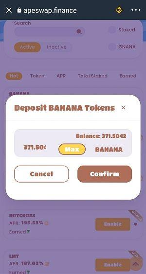 Điền số lượng đồng BANANA muốn stake rồi ấn Confirm - hướng dẫn sử dụng apeswap trust wallet