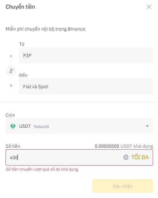 Điền số USDT bạn muốn chuyển từ ví P2P sang ví Fiat và Spot