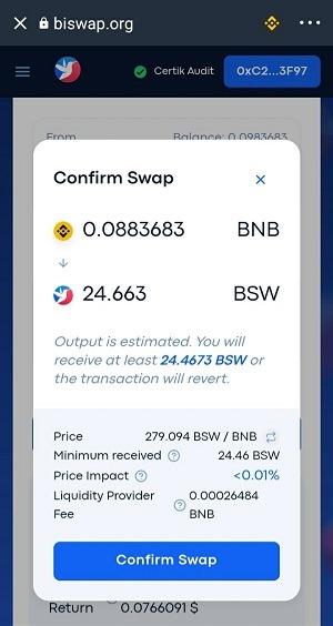 Ấn Confirm Swap để tiến hành chuyển đổi