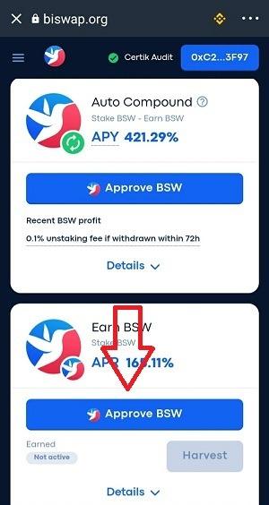 Ấn Approve BSW để tiến hành các bước Stake