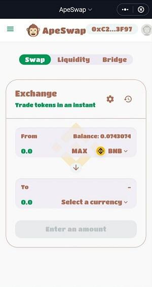 Giao diện mặc định là Exchange trong ApeSwap - Hướng dẫn sử dụng ApeSwap