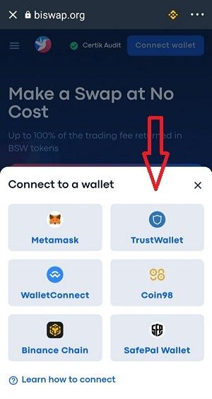 Chọn ví Trust Wallet - Hướng dẫn sử dụng Biswap
