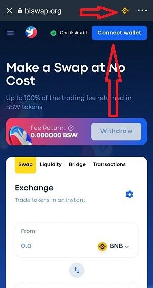 Kết nối Biswap và Trust Wallet - Hướng dẫn sử dụng Biswap