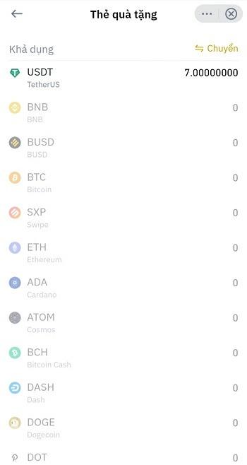 Chọn lựa đồng coin USDT để gửi - Hướng dẫn sử dụng Thẻ Quà Tặng Binance