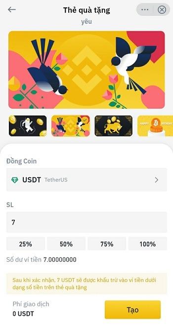 Điền số lượng coin muốn gửi - Hướng dẫn sử dụng Thẻ Quà Tặng Binance