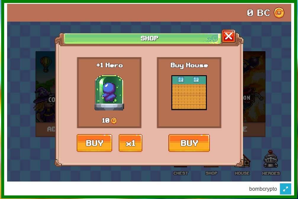 Shop bán anh hùng, vật phẩm, nhà, ..