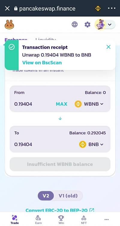 Chuyển đổi WBNB sang BNB thành công