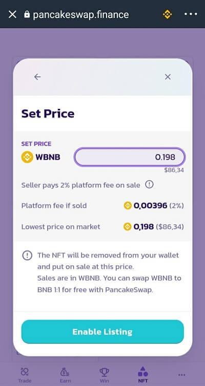 Enable Listing cho NFT - Cách sử dụng NFT Market PancakeSwap